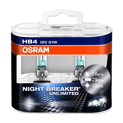 Osram NIGHT BREAKER® UNLIMITED  HB4, Halogen 12V, DUOBOX - 9006NBU-HCB
