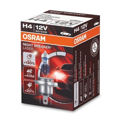 Osram NIGHT BREAKER® LASER H4, Halogen 12V, 1er Faltschachtel - 64193NBL